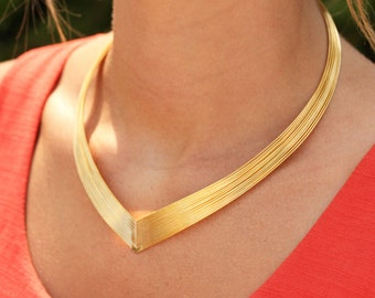 Gold Collar Necklace, Gold Choker Necklace, Gold Wire Necklace, Gold Plated Necklace, Choker Necklace, Collar Necklace, Statement Necklace