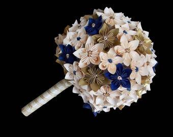 "Bouquet ""Momiji"" bridal ivory Navy Blue and Gold Ribbon Kusudama flowers ivory and gold"