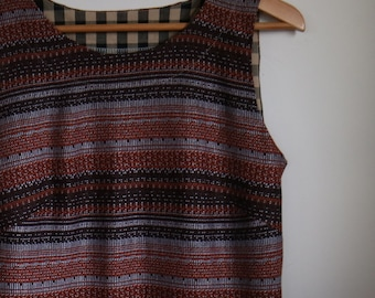 geometric stripes in rust and brown...ladies sleeveless pinafore shift with pockets in vintage knit fabric
