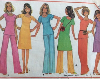 McCall's 5086 misses dress or top and pants size 10 bust 32 1/2 vintage 1970's sewing pattern