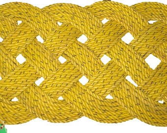 "Yellow Crab Line Large Outdoor Rope Rug 47"" x 22"" Doormat Nautical Beach Mat"