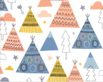 Moda Fabric - Wild and Free Cloud 35312 11 by Abi Hall - Quilt, Quilting, Crafts, Teepee