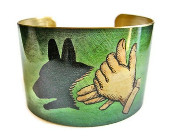 Dog Shadow Puppet cuff bracelet brass Gifts for her