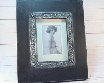 Black Chalk Painted 5x7 Picture Frame, Vintage Style Decor Frame, Wood Tabletop Frame, Goth Decor, Wedding Gift, Housewarming Gift