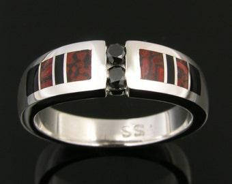 Dinosaur Bone Wedding Ring with Black Diamonds and Onyx Accents, Dinosaur Bone Ring, Dinosaur Bone Wedding Band