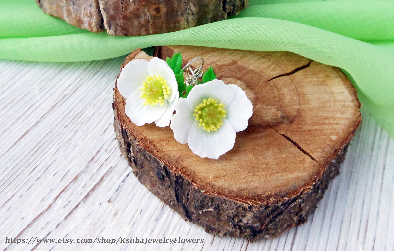 Poppy Earrings White Poppies Earrings Flowers Poppy Flowers