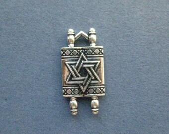4 Torah Charms - Torah Pendants - Jewish Torah - Torah - Antique Silver - 10mm x 20mm -- (K8-12019)