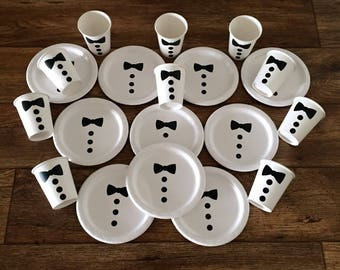 Bow Tie Birthday Party Cups and Plates, Bow Tie Baby Shower Cups and Plates, Boy Baby Shower, Little Man Birthday Party Supplies