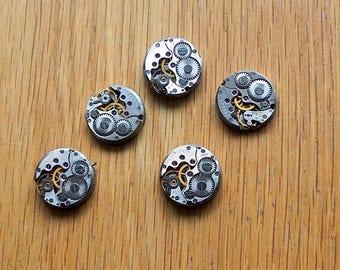 set of 5 mini mechanism watch movement steampunk gear 16mm (rare) vintage old woman