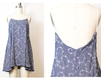 Blue White Floral Embroidered Cami Summer  Dress 90s Inspired Vintage OOAK