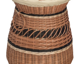 Round Laundry Wicker Basket Lined