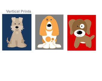 Dog Art for Kids Room // Dog Themed Nursery // Cute Dog Art // Puppy Nursery Decor // Dog Nursery Art // Dogs Wall Art // 4-8x10 PRINTS ONLY