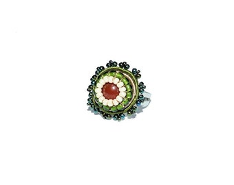 Free shipping USA & Canada. Soutache Adjustable Ring with Red Agate. Green Red Bead Embroidered Ring. Cocktail Ring. Statement Ring