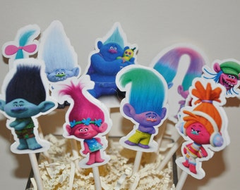Troll Cupcake Toppers Set of 12