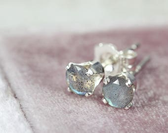 Labradorite Stud Earrings - Sterling Silver Earrings - Blue Grey Earrings - Faceted Labradorite Earrings - Post Earrings