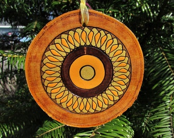 Spirography Sunflowers on Live Edge Birch Wood Slice Pyrography Wood Burning