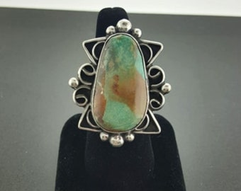 sterling silver Natural Royston turquoise ring - size 10