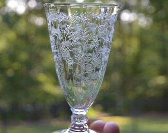 Vintage Fostoria Chintz Juice Glass Etched Crystal Glassware Stemware Pattern 6026 PanchosPorch
