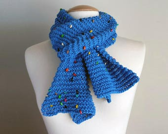 Hand knit cotton blue scarf with wooden beads
