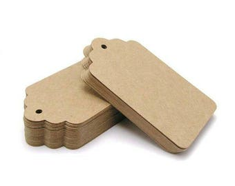 """50 pieces set Large Kraft Tags, rustic scallop wedding tags, blank brown paper tag 3.75x1.75"""""""