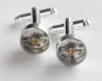 Gift for Husband, Silver Compass Cufflinks, Wearable Tech, Steampunk Cufflinks, Nautical Cufflinks, Men's Accessory, Beach Wedding, Groom