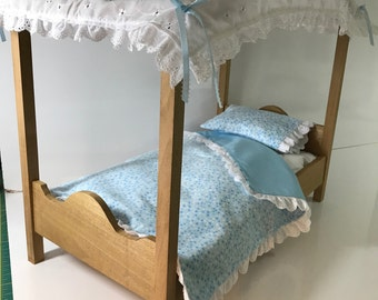 American Doll Canopy Bed Lite Stain - Blue Stars and Lace