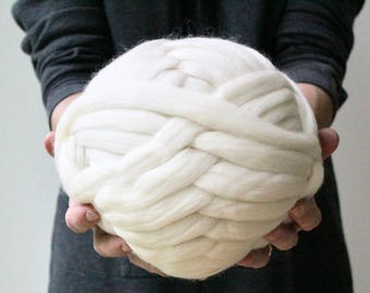 Super Bulky Yarn, Organic Merino Yarn, Blanket Yarn, Super Chunky Yarn, XL Wool, Merino Roving, Fine Merino Yarn, Bulky Yarn, Ivory Color
