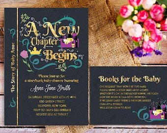 Book Baby Shower Invitation, Book Story Baby Shower Invitation, Fairy Tale  Invitation, Bring