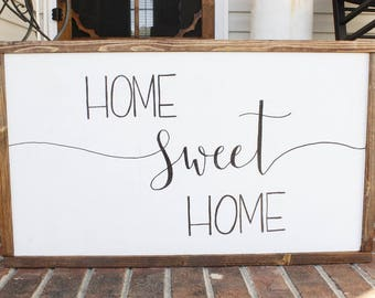 wood sign- farmhouse sign- home sweet home- housewarming gift- wood framed sign