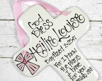 Personalized Baptism Cross with Pink Cross 'For I Know the Plans I Have for You' Jeremiah 29:11
