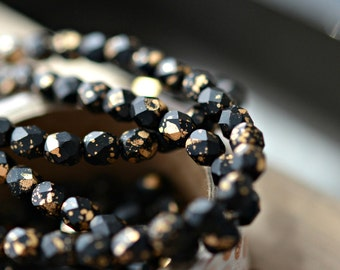 Glamour Queen - Premium Czech Glass Beads, Matte Opaque Jet Black, Metallic Gold, Firepolish Facet Rounds 4mm - Pc 30