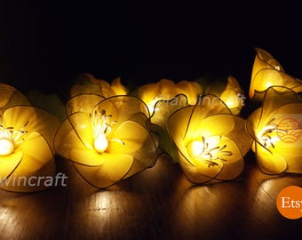 20 Yellow String Lights Rain Lilly Flower Fairy Lights Bedroom Home Decor Living Room Wall Hanging Lights Wedding Decor Dorm Battery or Plug