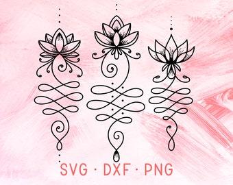 UNALOME SVG, Lotus SVG, Yoga Svg, Lotus Flower Svg, Namaste Svg, Lotus Clipart, Unalome Sacred Geometry Symbol, Lotus Dxf Healing Yoga Logo