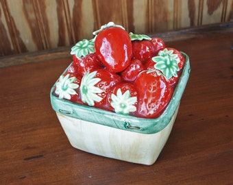 Vintage Ceramic Strawberry Basket Canister – 'Strawberry Delight' by Reco – Rare Piece
