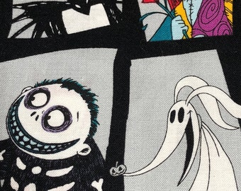 Fabric by the Yard - Disney Nightmare Before Christmas Icons in gray