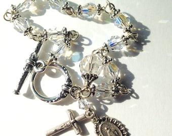 Clear Silver Rosary Bracelet Swarovski Crystal Catholic Unbreakable Miraculous Medal