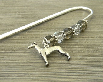 Greyhound Bookmark with Smoky Quartz and Clear Glass Beads Shepherd Hook Steel Bookmark Silver Color Dog Bookmark