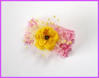 Pink and Yellow Flower Hair Scrunchie