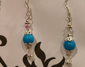 Sterling Silver Blue Agate Swarovski Crystals Earrings