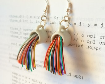 Rainbow mug earrings, handmade geek nerd gift, engineer, cable, computer recycle, upcycle, jewelry, colorful, gift for her