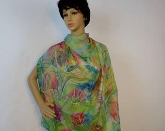 Green scarf handpainted silk scarf hand painted Scarf Silk Blue Shawl Blue Silk Shawl Purle Scarf Hand Painted  Silk Scarf Gift For Her