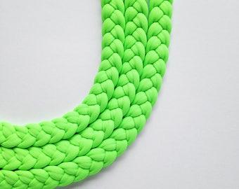 neon green necklace, neon choker, friendship necklace, statement necklace, neon green fabric - Triple braid necklace - neon green fabric