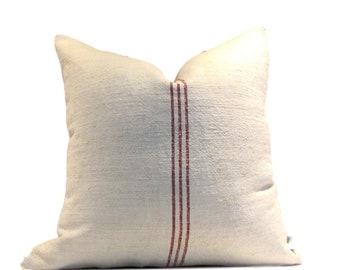 Vintage European Linen Grain Sack Pillow Cover Burgundy Red Stripe
