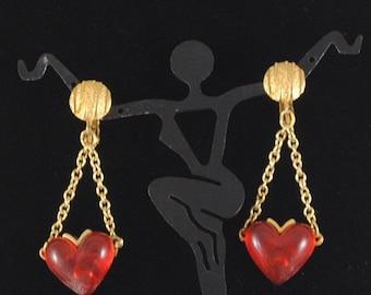 Vintage Red Heart Earrings