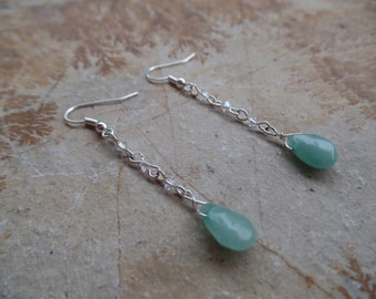 Teardrop Green Aventurine and White Swarovski Crystal Silver Earrings - Briolette - Mothers Day - Gifts for Her