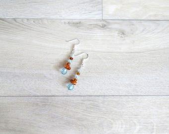 Simple lightweight light blue  and caramel beaded earrings, ready to ship, Australian seller, everyday earrings,