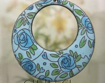 Aqua Rose Enamel Pendant, Copper Enamel Jewelry handmade in North Carolina