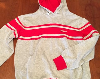 VTG Wilson Hoodie Red and Heather Grey Sweatshirt (M)