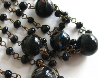 Vintage Venetian Italian Black Art Glass Bead Delicate Long Chain Necklace