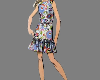 1970 Dress pattern Simplicity 8684, Mini Dress with Flapper Styling and Scarf, Size 14 Bust 36 Pleated skirt Long waist short sleeve dress,